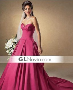 Corte princesa_vestido de novia_rosa fucsia