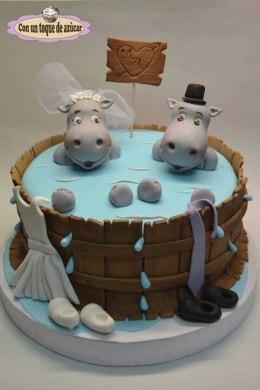 Pastel de boda_ hipopótamos