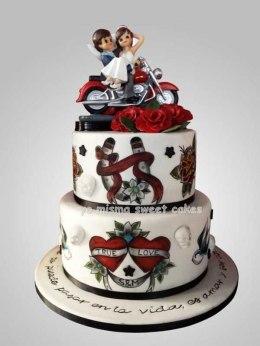 Pastel de boda rockero
